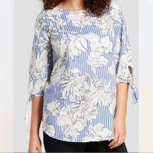 Isabel Maternity Striped Floral Tie Sleeve Top S